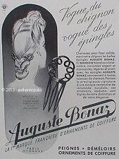 PUBLICITE AUGUSTE BONAZ EPINGLE PEIGNE A CHEUVEUX  DEMELOIR DE 1943 FRENCH AD