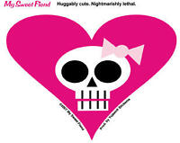 PINK HEART WITH SKULL  AWESOME STICKER/VINYL DECAL!
