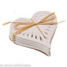 Set di 4 Cabana Bianco Stile Vintage Amore Cuore in Ceramica Sottobicchieri SOTTOPIATTO