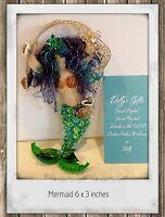 Mermaid  Felt Ornament Hand Sewn Beaded Sequined Ornament real Seashells