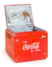 VINTAGE UPCYCLED LARGE METAL COCA COLA COKE STORAGE BOX CRATE WITH BOTTLE OPENER