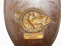 "VINTAGE 8"" HIGH NICHOLAS TERELETSKY U. S. ARMY WOOD EAGLE WALL PLAQUE"