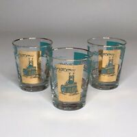 Vintage Libbey Riverboat Steamboat LowBall Glasses Set Of 3 #LRSLRS129 Teal Gold