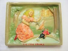 Vintage Antique Frog Prince Wall Plaque Carnival Chalk Chalkware Ceramic Disney