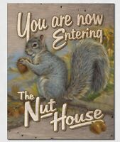 """You are now Entering The Nut House Tin Sign wall decor 12.5"""" x 16"""" Made in USA"""