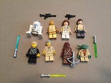 LEGO lot of 8 Star Wars Good Guy Minifigs Yoda Luke Leia Han R2-D2 Chewie S373