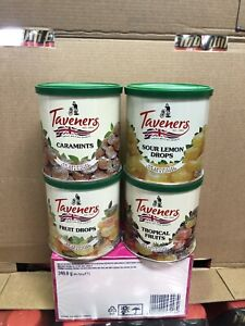 4 x 200g TAVERNERS Hard boiled sweet Tins sealed