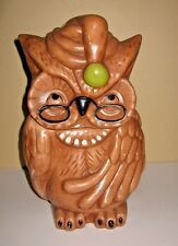 Vintage DeForest Of Calf. Brown Owl w/Glasses & Hat Ceramic Cookie Jar USA