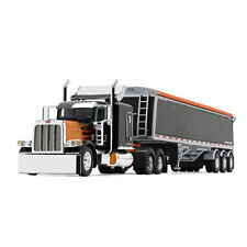 First Gear DCP 1:64 BLACK ORANGE PETERBILT 389 w/LODE KING HOPPER GRAIN TRAILER