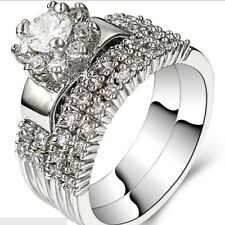 Size 5 6 7 8 9 10 11 Wedding Engagement Ring Set Rhodium Plated Valentine School