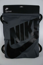 NIKE HERITAGE GYMSACK DARK GRAY/BLACK DRAWSTRING BAG BACKPACK GYM SACK BA5351