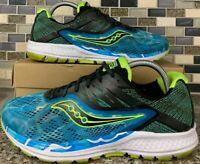 Saucony Ride 10 Blue Green White Running Athletic Mens Shoes US Sz 8 S2033-12