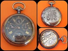 ANTIQUE POCKET WATCH-Moonphase- Triple Calendar-Mechanical Manual-anni 1890-rare