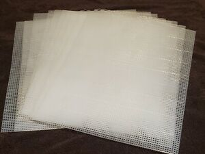 Clear White Mesh Plastic Canvas #7 10.5x13.5 10 Sheet Lot Craft Stitching