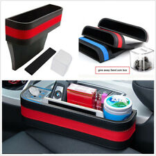 Universal ABS+PU Leather Car Armrest Front Seat Gap Filler Storage Box Red Black