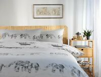 Stunning Printed Elephant Design Duvet Cover Set King Bed Polycotton Grey