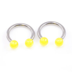 Pair of Horseshoe with Acrylic Ball end 10g Made of Surgical Steel