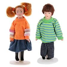 2 Dolls House Miniature Brother Sister Boy Girl Figure w/ Clothes Stand set 1/12