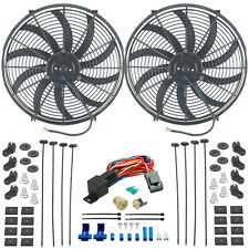 "DUAL 16"" INCH ELECTRIC HIGH CFM PULLER FANS 3/8"" INCH THERMOSTAT FAN SWITCH KIT"