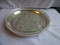 Vintage Silver Plated Chased Round Small Gallery Tray Diameter 23 cm