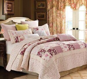 Pink Farmhouse Patchwork Floral KING Size Printed Quilt Set Country Primitive
