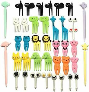 CKANDAY Set of 40 Lovely Animal Food Fruit Picks Forks Mini Cute Cartoon Toot...