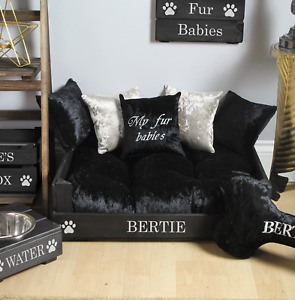 XS / SMALL PERSONALISED DOG BED ~ CAT BED ~ CRUSHED VELVET ~ GOLD OR SILVER TEXT