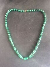 Vintage MALACHITE Necklace Polished Quality Round & Unusual Shaped Beads 25inch