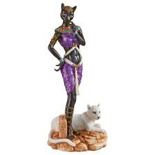 Ancient Egyptian Goddess Bastet Cat w/ her Exotic white Panther Sculpted Statue