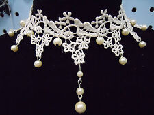 White Lace Choker Cosplay Wedding Vintage Pearl Pendant Necklace Collar Choker