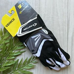 NWT EASTON Venice Batting Glove Adult Baseball BLACK Synthetic Leather SMALL