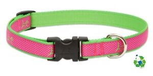 "NEW Bermuda Pink & Green Dog Collar or Leash 3/4"" or 1"" by Lupine Club Recycled"