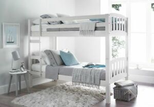 Europa America 2FT6 x 5FT3 Short Small Single White Wooden Shorty Bunk Bed
