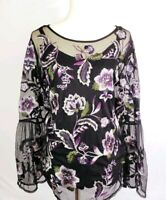 INC Womens 2pc Floral Embroidered Mesh Top Womens Plus Size 1X Bell Sleeve $99