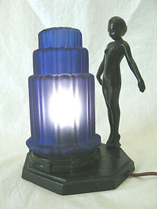 Art Deco Style Table Lamp with Standing Nude & Frosted Blue Glass Shade