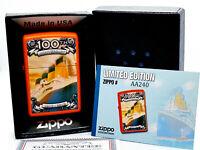 New/Rare Zippo Lighter w/ Box Titanic 100th Anniversary Limited Edition