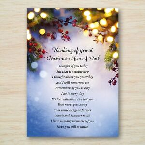 Mam Mom Dad Christmas Memorial Grave Graveside Card *Eco Fully Weatherproof* A5