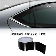 Strisce Adesive per Wrapping Cromature Auto, Nero Lucido, 5 cm x 5 mt