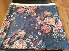 3 Yds Floral Print Upholstery Fabric 1996 Culp Material Teal Mauve White