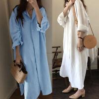 Mode Femme Robe Dresse Ample Casual en vrac Manche Longue Boutons Simple Plus