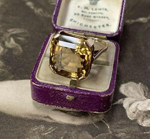 Huge 19.49 Carat Citrine Ring Asscher Cut Antique Art Deco 9ct Yellow Gold UK N