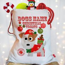Personalised Jack Russell Dog Puppy Christmas Treat Santa Xmas Sack Pet Stocking