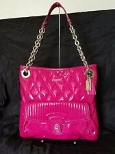 Coach Poppy Liquid Gloss Quilted Patent Leather Slim Tote Handbag Pink F18673