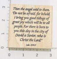 Sweet Celebrations Stamp Scripture Luke 2:10-11 KJV Gently Used 1999 Wood Mount