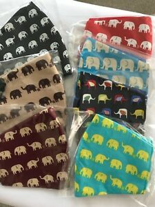 Walking in Line Elephants Face Masks  - 7 Colours. Reversible/Washable/Lined