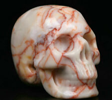 "1.9"" Red Network Jasper Carved Crystal Skull, Realistic, Crystal Healing"