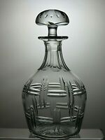 "CUT GLASS LEAD CRYSTAL ROUND DECANTER WITH STOPPER 9 3/4"" TALL ( 24 CM )"