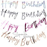 'HAPPY BIRTHDAY' BUNTINGS - Foiled Garlands/Banners/Party Decorations -5 Colours