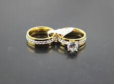 50 Stück Großhandel Edelstahl Ringe Charme Hochzeit Verlobung 2 in 1 Ring DH185
