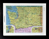 c1970 McNally Cosmo Map - Washington Seattle Tacoma Spokane Mount Rainer Olympia